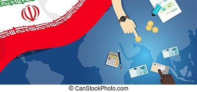 fiscal, carte, concept, iran, banque, argent, budget, illustration, commercer, monnaie, drapeau, financier, économie
