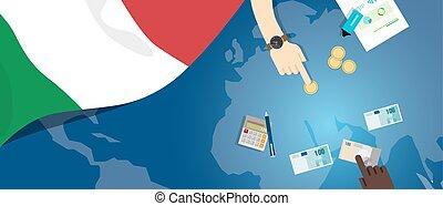 fiscal, carte, concept, italie, banque, argent, budget, illustration, commercer, monnaie, drapeau, financier, économie