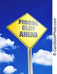 Fiscal cliff ahead - Rendered artwork with blue sky...