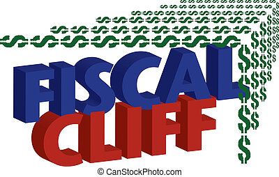 Fiscal Cliff Illustration - Dollar signs falling off the...