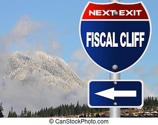 Fiscal cliff road sign