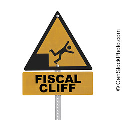 Fiscal Cliff Warning Sign Isolated - Fiscal cliff warning...