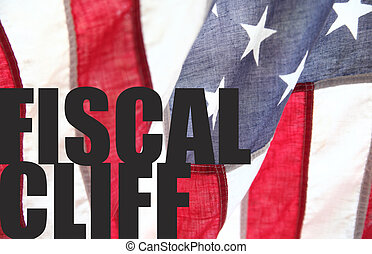 fiscal cliff words on USA flag - the words 'fiscal cliff' on...