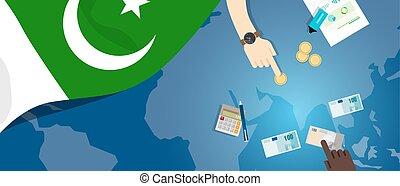 fiscal, pakistan, concept, financier, carte, argent, budget, illustration, commercer, monnaie, drapeau, banque
