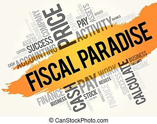 Fiscal Paradise word cloud collage, business concept...