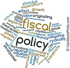 Fiscal policy - Abstract word cloud for Fiscal policy with...