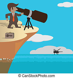 Fiscal Telescoping - Vision of businessman on high cliff...