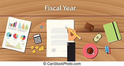 fiscal year concept illustration with business man working on some paper document  graph chart money  wooden table