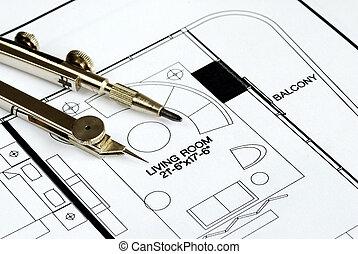 fiscale woonplaats, bovenzijde, floorplan, kompas
