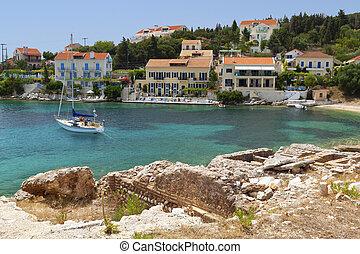 fiscardo, île, village, traditionnel, grèce, kefalonia