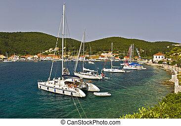fiscardo, île, voile, grèce, ancré, village, bateaux, kefalonia