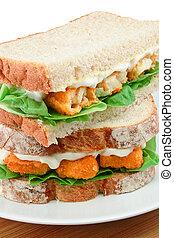 fisch- sandwich, finger, detail