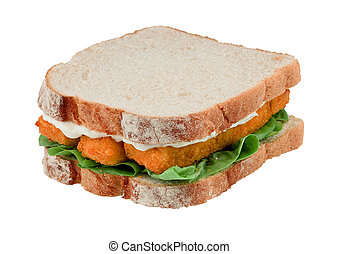 fisch- sandwich, finger, freigestellt