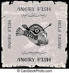 fische, böser , abbildung