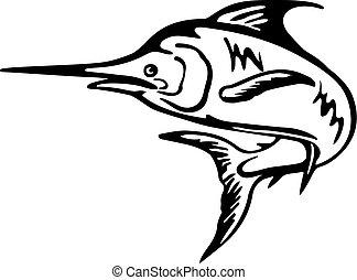 fische, blaues, weißes, springende , retro, auf, schwarz, marlin