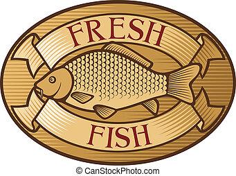 fische, frisch, etikett