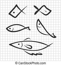 fische, hand, zeichnung, ikone