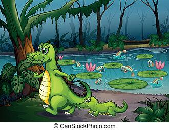 fische, krokodile, wald, teich