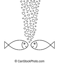 fische, love., zwei, hearts-bubbles.