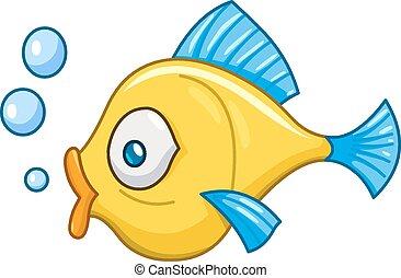 fische, mit, blasen
