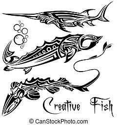 fische, satz, kreativ