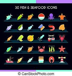 fische, satz, meeresfrüchte, schlanke