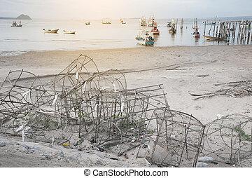 fische, werkzeug, thailand., fischerdorf, sandstrand, gefangen