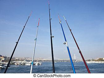 fischen stäben, auf, der, galata, brücke