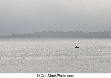 fischer, alleine, in, der, nebel