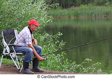 fischer, fische, in, der, river., mittelalt, man.