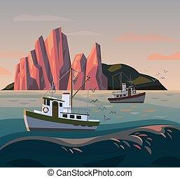 fischer, fischerei, schiff, oder, boot, sunset.