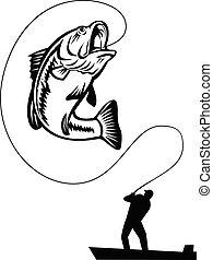 fischerei, auf, fischer, springende , fangen, retro, großer öffnung baß, weißes, schwarz