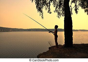 fischerei, auf, sonnenuntergang