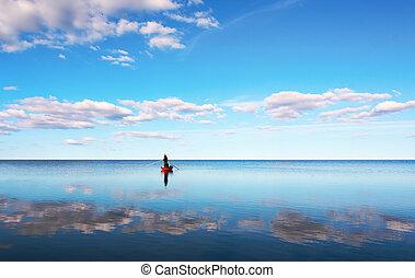 fischerei, in, blaues, meer