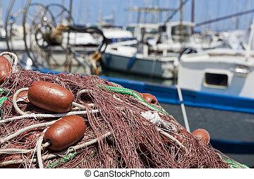 fischernetz, der, sonne