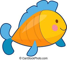 fish, ábra, vektor, sárga