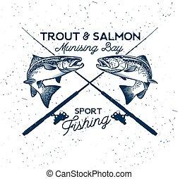 fish, łosoś, wektor, wędkarski, icon., logo.