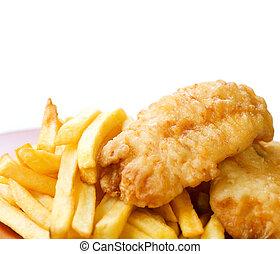 fish, άσπρο , τηγανητέs πατάτεs , απομονωμένος , τηγανητός