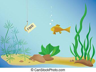 fish, イラスト, 海