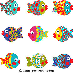 fish, グラフィック, コレクション, カラフルである, 漫画