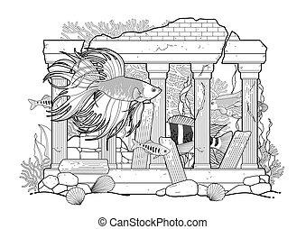 fish, グラフィック, 彫刻, 水族館, 建築である