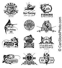 fish., セット, ベクトル, つかまえること, バッジ, ステッカー
