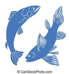 fish, セット, 白い背景