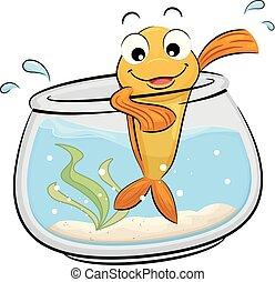 fish, マスコット, 波, 魚は ボーリングをする, イラスト