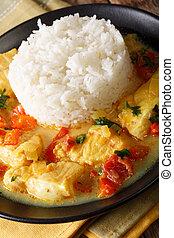 fish, 以及, 米, 由于, 調味汁, ......的, cilantro, 洋蔥, 番茄, 鈴胡椒, 以及,...