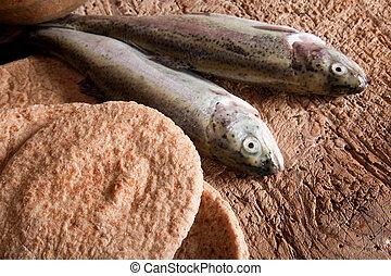 fish, 以及, bread