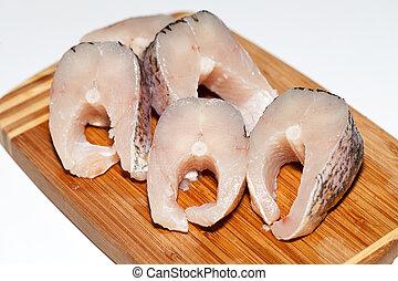 fish., 健康, 未加工, diet., 新たに, 小片