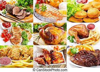 fish, 各種各樣, 肉, 小雞, 飯