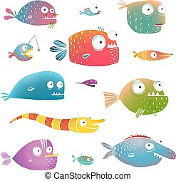 fish, 子供, デザイン, 漫画, コレクション