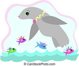 fish, 封印, 游泳